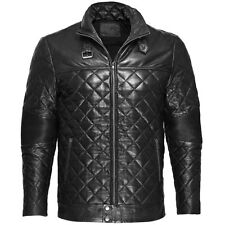 VIPARO Black Moto Quilted Quilt Padded Lambskin Leather Biker Jacket - Maverick