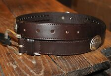 LEATHER BELT w/ FEATHER conchos Western Woven Braided Insert Brown Youth Kid's