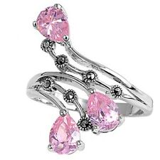 Antique Art Deco Three Stone Pear Cut Tip Pink CZ Marcasite Ring Sterling Silver