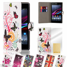 Designer leather wallet case cover for Sony Xperia Z (L36H) + screen protector