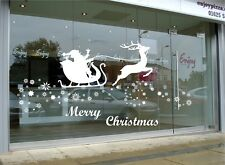 Large Santa Claus Christmas Deer Shop Window Wall Art Decoration Sticker Decal X