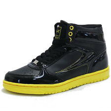 Womens Black Shiny Yellow Sports High Top Sneakers Shoes Lady Hi Tops Trainers