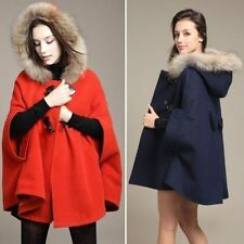 Womens Hooded Poncho Cape Coat Warm Faux Fur Shawl Wool Plus Jacket Cloak