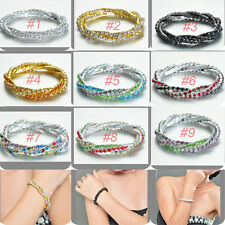 Tennis Bangle Bracelet Bling-bling Stretchy Multi-Layer Twisty Crystal Xmas Gift