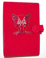 PERSONAL ORGANISER FILOFAX C/W INSERTS. RED SUEDE. HAND APPLIED CRYSTAL CAT FACE