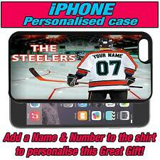 PERSONALISED SHEFFIELD STEELERS ICE HOCKEY iPHONE 4 s 5 s 5c SILICONE BACK CASE
