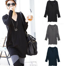 Fashion Women Batwing Long Sleeve V-neck Loose Button Casual Blouse T Shirt Tops