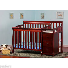3 in 1 Convertible Side Crib & Changer Twin Bed Nursery Baby Toddler Cherry