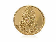 GORGEOUS GODDESS LAXMI SOLID 24KT YELLOW GOLD COIN   VERY NICE DETAILS   LTD QTY