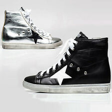 Womens Star High Top Sneakers Glitter Lady Shiny Hi Top Trainers