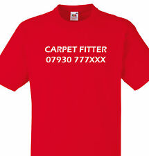 PERSONALISED CARPET FITTER T SHIRT TEE PHONE NUMBER GIFT BUSINESS CONTACT XMAS