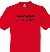 PERSONALISED HANDYMAN T SHIRT TEE PHONE NUMBER GIFT BUSINESS CONTACT XMAS