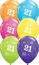 21st Birthday 1x28cm Balloon  Orange Blue Pink Yellow Green Purple 1 each