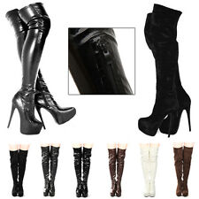 Hot Sale Luxury High Heel Womens Knee High Platform Boots Zip Stiletto Ladies