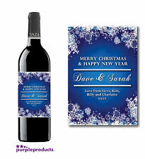 PERSONALISED CHRISTMAS BLUE SNOWFLAKE WINE BOTTLE LABEL