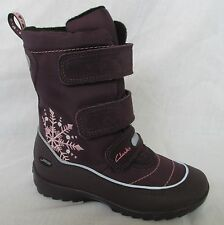 BNIB Clarks Arlina Dog GTX Girls Purple Leather Gore-Tex Boots F & G Fitting