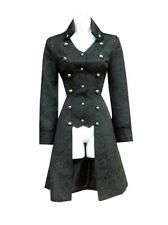 H & R Black Trench Coat Jacket MILITARY JACQUARD Cyber Goth steampunk HiLow 9187