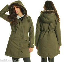 Ladies Khaki Parka Coat 74VaZN