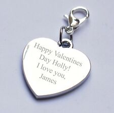 Engravable Personalised Charm Valentine's Day any text/message/wording gift