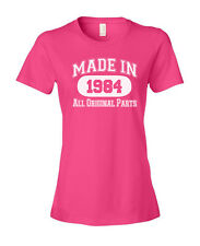 MADE IN 1939-1998 Any Year Birthday Ladies' Women's Fashion Fit T-Shirt Hot Pink