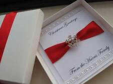 Personalised Christmas Card - With/Without Box - Diamante Snowflake & Pearls