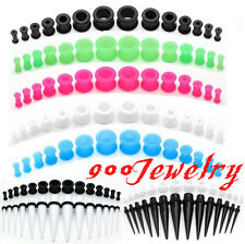 8g-1/2'' Acrylic Taper Kit Stretcher + Silicone Tunnel Plug Ear Expander 14sets