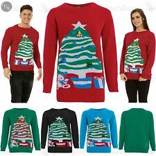 CLEARANCE SALE Mens Womens 3D Bells Christmas Tree Teddy Bear Sweater Jumper Top