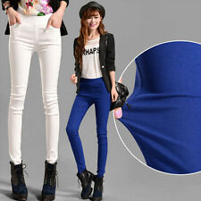 Korean Girls High Waist Slim Trousers Stretch Skinny Leggings Pencil Pants 6Size