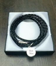 BLACK MENS LEATHER IDENTITY BRACELET ENGRAVED PERSONALISED with GIFT BOX