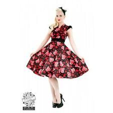 Hearts & Roses Red Black Long Dress Rockabilly Pinup 50s Vintage Swing Love