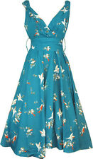 KUSHI LADIES 50'S STYLE SWING ROCKABILLY VINTAGE DRESS NEW SIZE 10-22 TEAL BIRD
