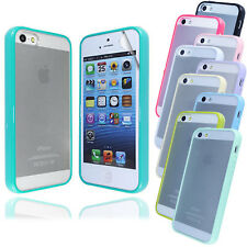New Glossy Transparent Bumper Case Cover FOR iPhone 5S 5G+Screen Protector