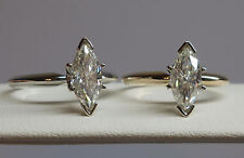 Forever Brilliant Charles&Calvard Moissanite Marquise 14kt WG/YG Ring Video