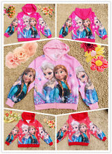 Disney Frozen Snow Elsa&Anna Top Kids Girls Sweatshirts Hoodies Coat Jacket 3-9Y