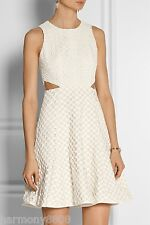 NEW $425 Tibi Sonoran Eyelet A-Line Cotton Dress with Cut out Waist AUTH 2014s/s
