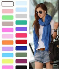 Hot New Womens Girls Women Soft Crinkle Long Pure Candy Scarf Wrap Shawl Stole