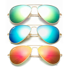 RB 3025 Aviator Sunglasses Gold Frame Blue Green Orange Mirror Lens 58mm Promoti