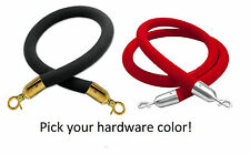 Black or Red Barrier Rope Crowd Control Stanchion Queue Velvet Rope w/ Hardware