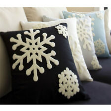 Canvas Decorative Pillow Covers Embroidered White Snowflake Christmas Decor 45CM