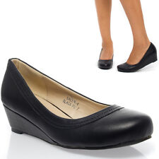 Black Classic Round Toe PU Leather Med Low Wedge Heel Pump Work Shoe Size 5-11