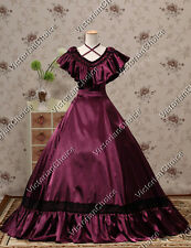 Southern Belle Victorian Cascading Neckpiece Satin Ball Gown Period Dress 127