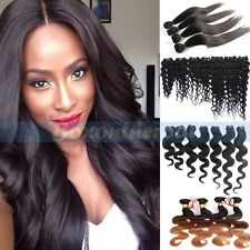 100% Weft Brazilian Bundle Remy Human Hair Straight Deep Curly Weave Extensions