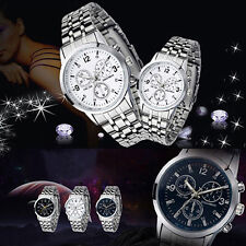 Men's Women's New Perfect Couple Design Stainless Steel Quartz Sport Wrist Watch