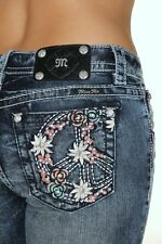 Bootcut Colorful Peace Sign Miss Me Jeans Acid Wash Embellished JP7500B distress