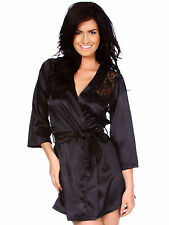 Women Sexy Satin Lace Robe Sleepwear Lingerie Nightdress G-string Pajamas