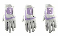 3 x Ladies 100% Cabretta Leather Golf Glove With Lilac Lycra
