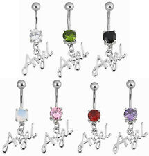 Angel Word Dangle  Belly  Bar Ring 14g 10mm  - Choose Gem Colour #73