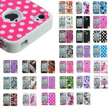 Impact Design Hard Case Silicone Hybrid Protector TUFF Cover for iPhone 4 4S