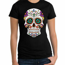 Sugar Skull Cross Day Of The Dead Tattoo Mexican Street Art Womens New t-Shirt