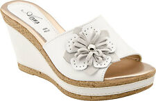Azura by Spring Step Women's Narcisse Platform Sandal White Leather/Suede Combo